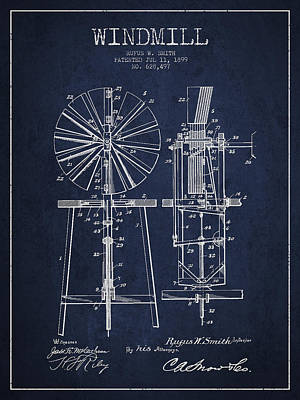 Windmill Patent Drawing From 1899 - Navy Blue Art Print