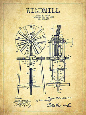 Digital Art - Windmill Patent Drawing From 1899 - Vintage by Aged Pixel