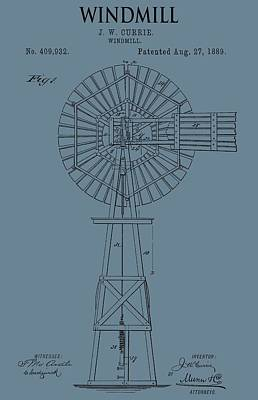 Windy Mixed Media - Windmill Patent On Blue by Dan Sproul