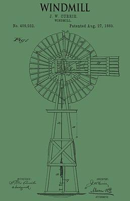Windy Mixed Media - Windmill Patent On Green by Dan Sproul