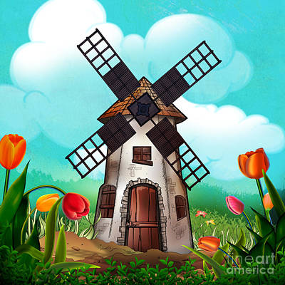 Windmill Path Art Print