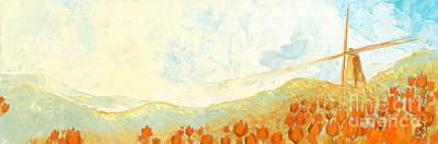 Tulips In Field Painting - Windmill by Priscilla  Jo