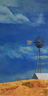 Cloudy Day Painting - Windmill Ranch by Heidi Martin