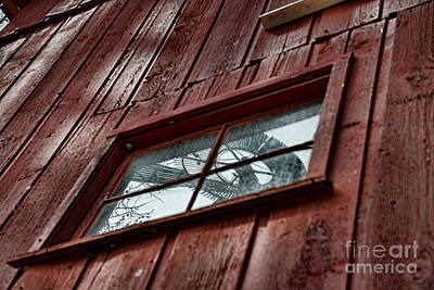 Photograph - Windmill Reflected In Barn Window by David Arment