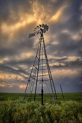 Windmill Storm Art Print by Thomas Zimmerman