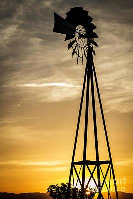 Windmill Sunset Print by Mitch Shindelbower