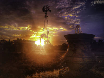 Pottery Water Fountain Photograph - Windmill Sunset by Rebecca Bayer