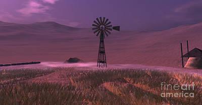 Cornfield Digital Art - Windmill by Susanne Baumann