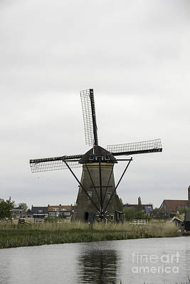 Historic Photograph - Windmill Tail Pole At Kinderdijk by Teresa Mucha
