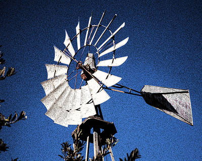 Photograph - Windmill Water Pump Blue Sky Abstract Fine Art Photography Prin by Jerry Cowart