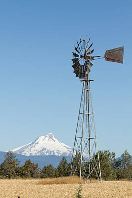 Central Photograph - Windmill With Mount Jefferson In Central Oregon by David Gn
