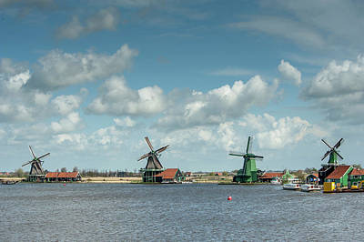 Landscape Netherlands Photograph - Windmills Along A Lake In A Peaceful by Sheila Haddad