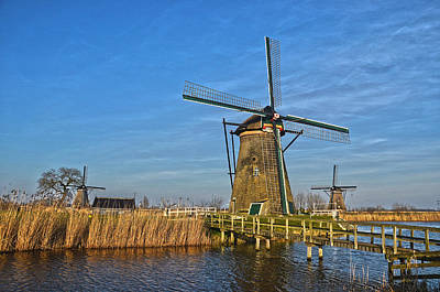 Windmills And Bridge Near Kinderdijk Art Print