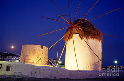 Photograph - Windmills And Full Moon by George Atsametakis