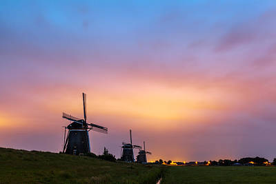 Windmills At Dawn Art Print