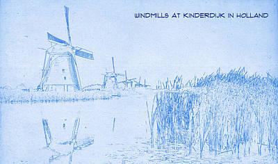 At Poster Mixed Media - Windmills At Kinderdijk Holland - Blueprint Drawing by MotionAge Designs