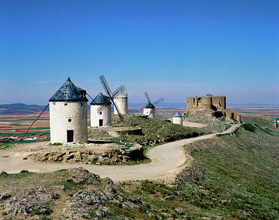Scenic Photograph - Windmills At La Mancha, Spain by Adina Tovy