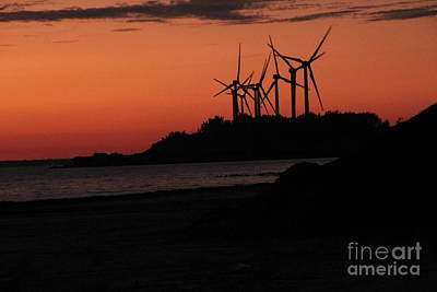 Art Print featuring the photograph Windmills At Sunset by Jim Lepard