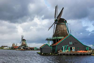 Windmills At Zaanse Schans Art Print by Jenny Hudson