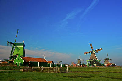 Windmills At Zaanse Schans Art Print by Jonah  Anderson