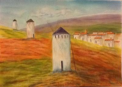 Painting - Windmills In Holland by Nora Vega