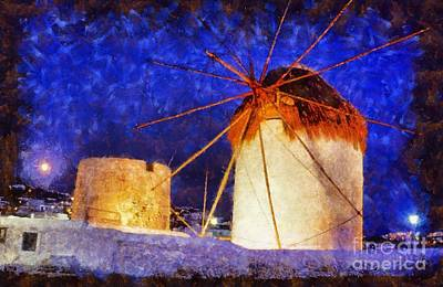 Painting - Windmills In Mykonos Island by George Atsametakis