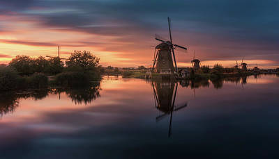 Pastel Sunset Photograph - Windmills by Javier De La
