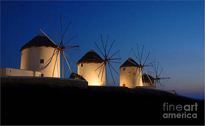Windmill At Night Blue Photograph - Windmills Mykonos by Bob Christopher