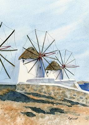 Greece Painting - Windmills Of Mykonos by Marsha Elliott