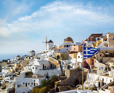 Photograph - Windmills Of Oia Village At Sunny Day by Gurgen Bakhshetsyan