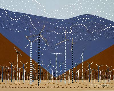 Windmills Of The Coachella Valley Original by Linda Wolf