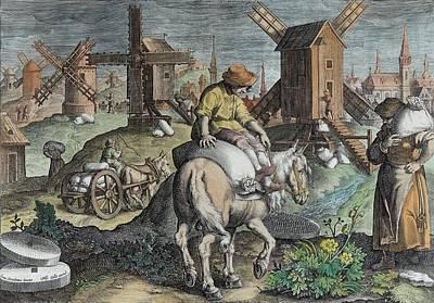 Corn Drawing - Windmills, Plate 12 From Nova Reperta by Jan van der Straet