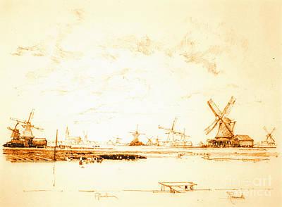 Windmills Zaandam Holland 1897 Print by Padre Art