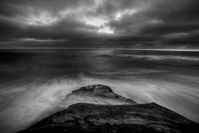 Windnsea Point Bw Art Print by Peter Tellone
