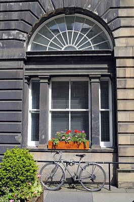 Window And Bicycle In Edinburgh Art Print by Norman Pogson