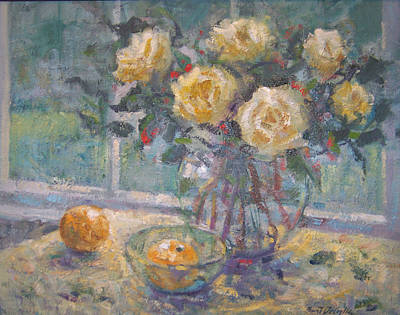 Painting - Window And Yellow Roses by Bart DeCeglie