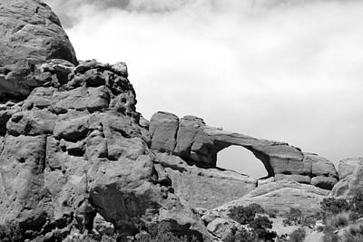 Photograph - Window Arch 2 Arches National Park Bw by Mary Bedy