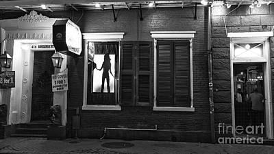 Photograph - Window Dancer On Bourbon Street Mono by John Rizzuto