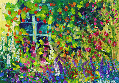 Painting - Window Flowers In Cottage Garden by Ekaterina Chernova