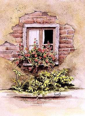 Brick Painting - Window Flowers by Sam Sidders