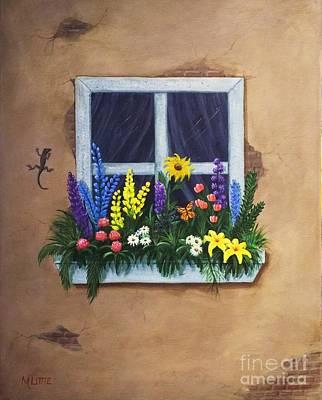 Painting - Window Garden by Marlene Little