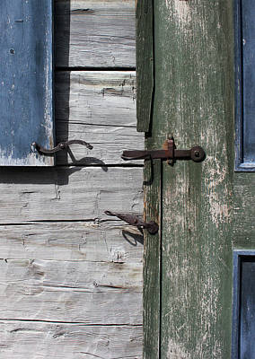 Photograph - Window Hardware Blue 4 by Mary Bedy