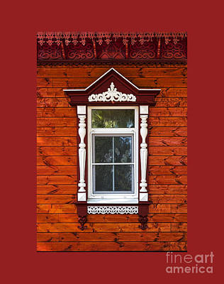 Hand Carved Photograph - Window In Red by Elena Nosyreva