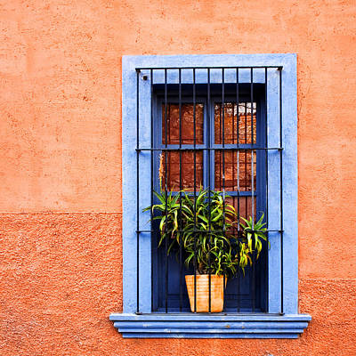 Window In San Miguel De Allende Mexico Square Art Print by Carol Leigh