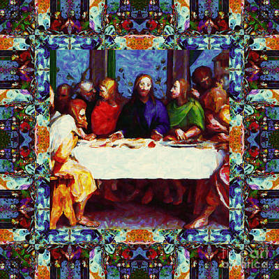 Jesus Face Digital Art - Window Into The Last Supper 20130130p0 by Wingsdomain Art and Photography