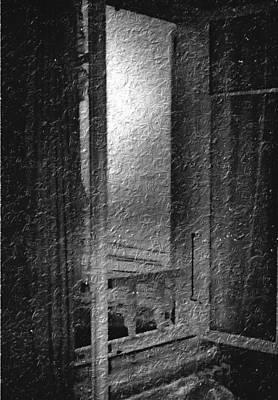 Window Ocean View Black And White Digital Painting Art Print