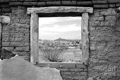 Window Onto Big Bend Desert Southwest Black And White Art Print by Shawn O'Brien