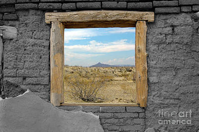 Window Onto Big Bend Desert Southwest Color Splash Black And White Art Print