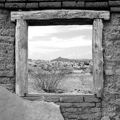 Western Themed Photograph - Window Onto Big Bend Desert Southwest Square Format Black And White by Shawn O'Brien