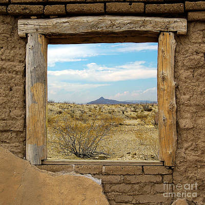 Western Themed Photograph - Window Onto Big Bend Desert Southwest Square Format by Shawn O'Brien